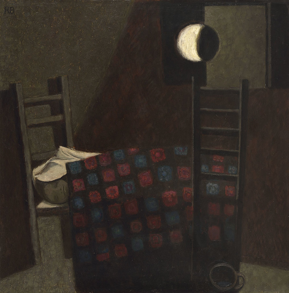 Roderic Barrett (1920-2000)    Moon and Cot,  1959, Oil on board, 36 x 36 in  [CAS 11] Acquired in 1976
