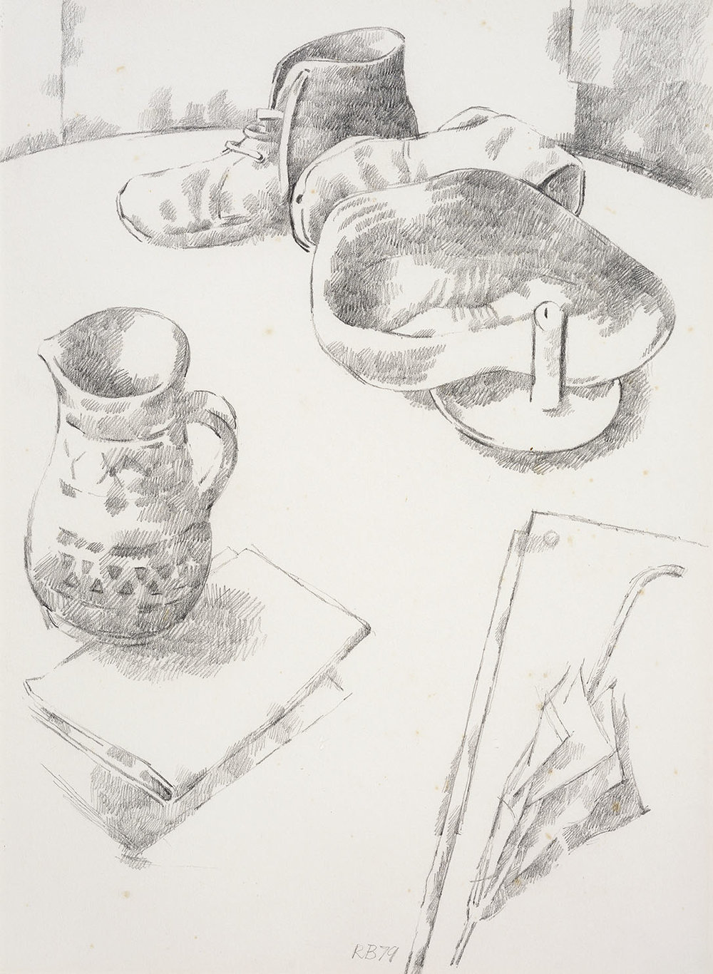 Roderic Barrett (1920-2000)    Boots, Jug and Drawing,  1979, Pencil on paper, 14 x 10 ½ in, Signed (initial) and dated  [CAS 45] Acquired in 1981