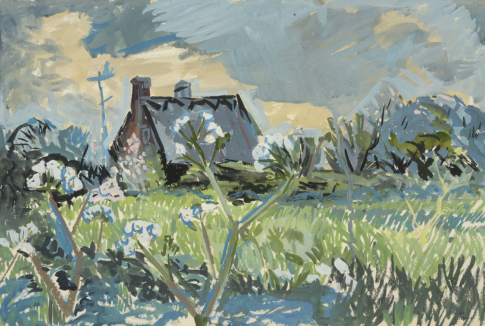 Hugh Verschoyle Cronyn FRSA (1905-1996)    East Mersea,  c.1967, Gouache on paper, 13 ¾ x 20 ¾ in  [CAS 5] Acquired before 1967