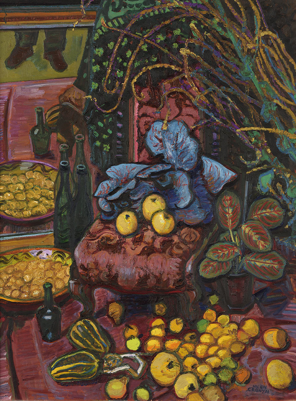 Hugh Verschoyle Cronyn FRSA (1905-1996)    Chair and Fruit,  1972, Oil on canvas, 40 x 30 in, Signed  [CAS 20] Acquired 1972