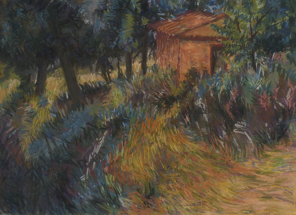 Enid Crowther (b. 1926)    Croagnes, Provence,  c. 1980, Pastel on paper, 21 ¼ x 29 ½ in, Signed  [CAS 35] Acquired in 1980