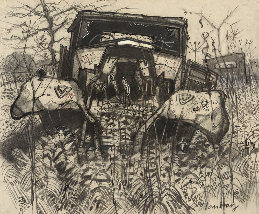 Dr Ian Hay ARCA, DU (Essex) (b.1940)    Journey's End: Three Cars Rusting,  1973, Charcoal on paper, 19 ¼ x 23 ¼ in, Signed  [CAS 25] Acquired in 1976