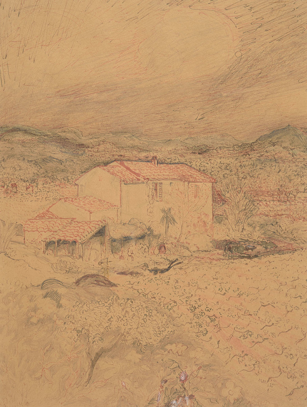 Major Richard Heseltine MC (1914-2012)    Provencal Farm,  c.1975, Pen and ink on paper, 18 ½ x 14 in, Signed  [CAS 32] Acquired in 1977