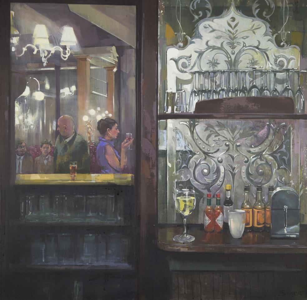 Bar-Back & Beyond, The Salisbury W1 , Oil on canvas, 76 x 76 cm