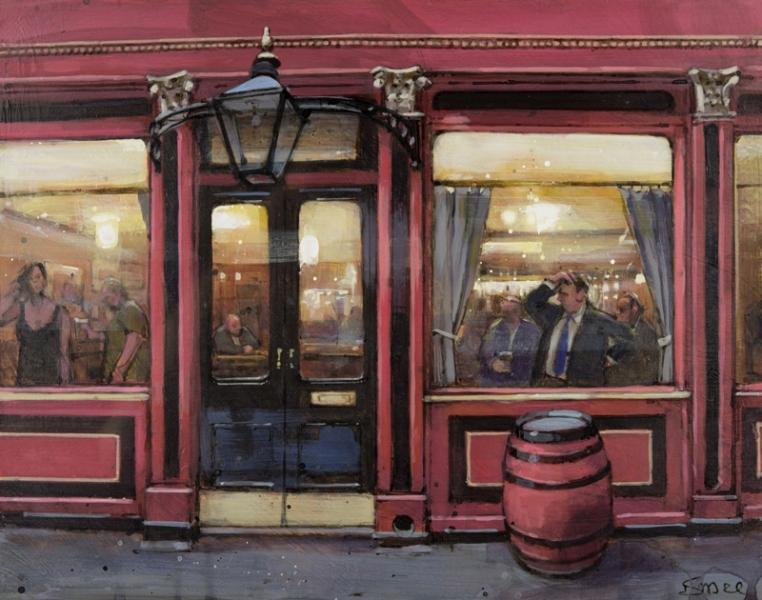 Busy in The Ship & Shovel , Acrylic on board, 21 x 27 cm