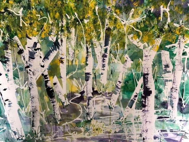 Silver Birch , Watercolour, 89 x 68 cm