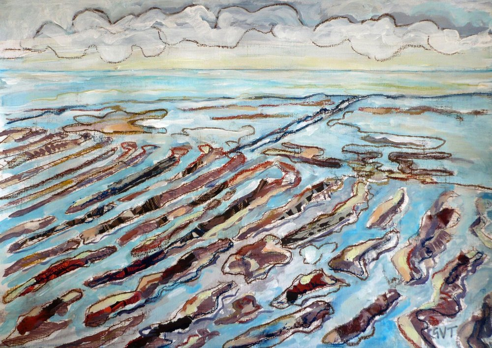 Essex Coast 1 , Mixed media on paper, 27 x 42 cm
