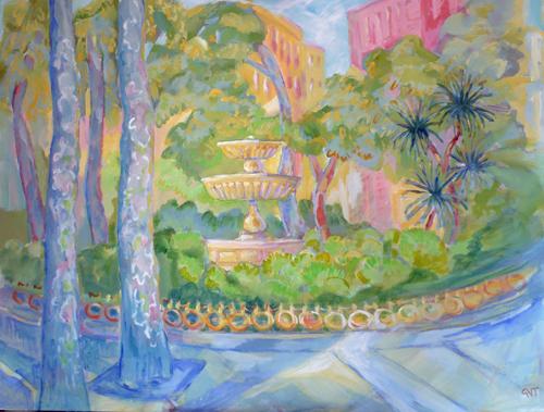 Plaza Trinidad , Acrylic on board, 92 x 123 cm