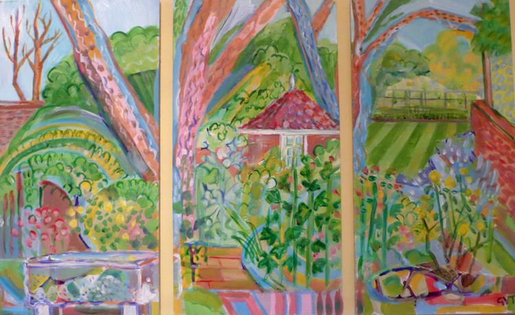 Garden Triptych , Acrylic on board, 35 x 56 cm