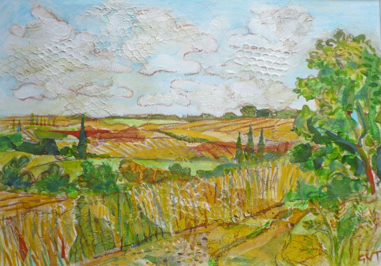 Essex Fields , Mixed media, 27 x 42 cm
