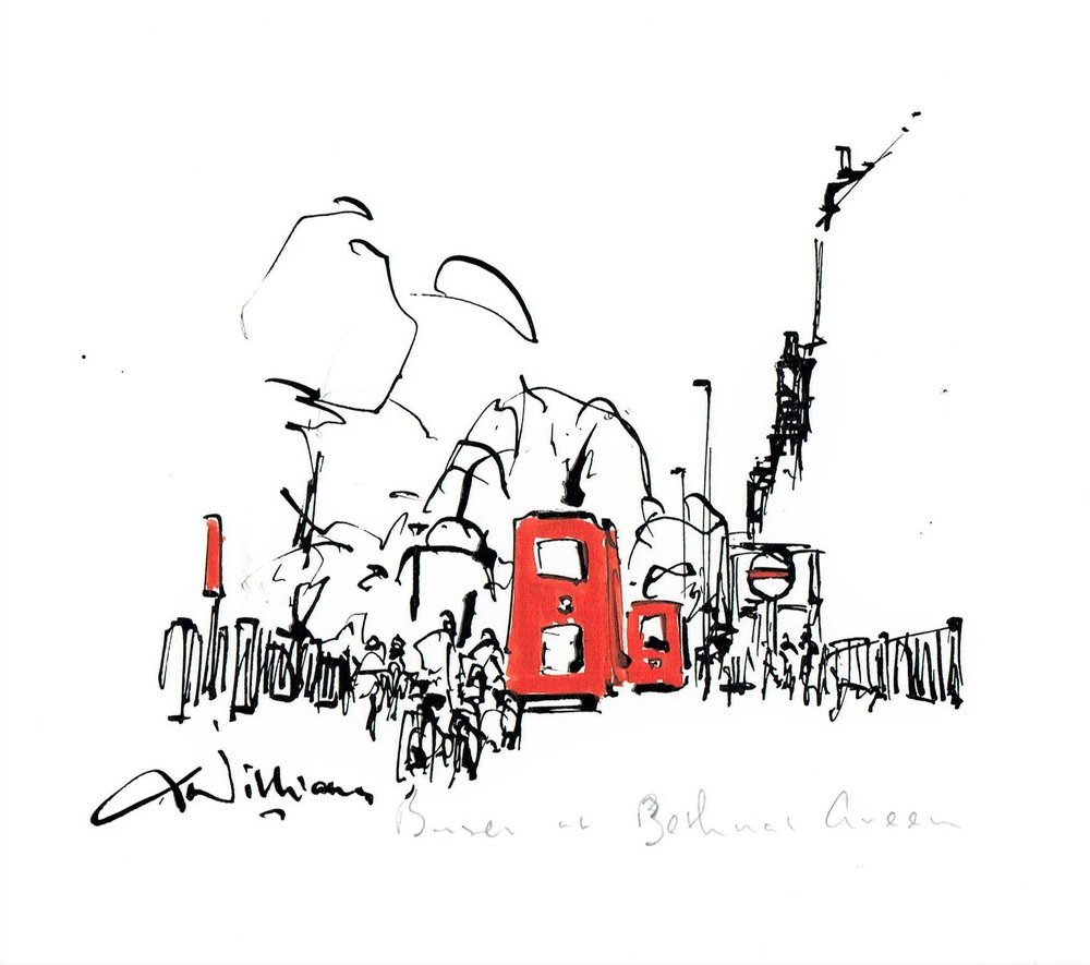 Buses at Bethnal Green , Pen and wash