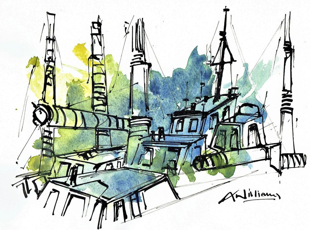 Boats in Dock 2 , Pen and wash