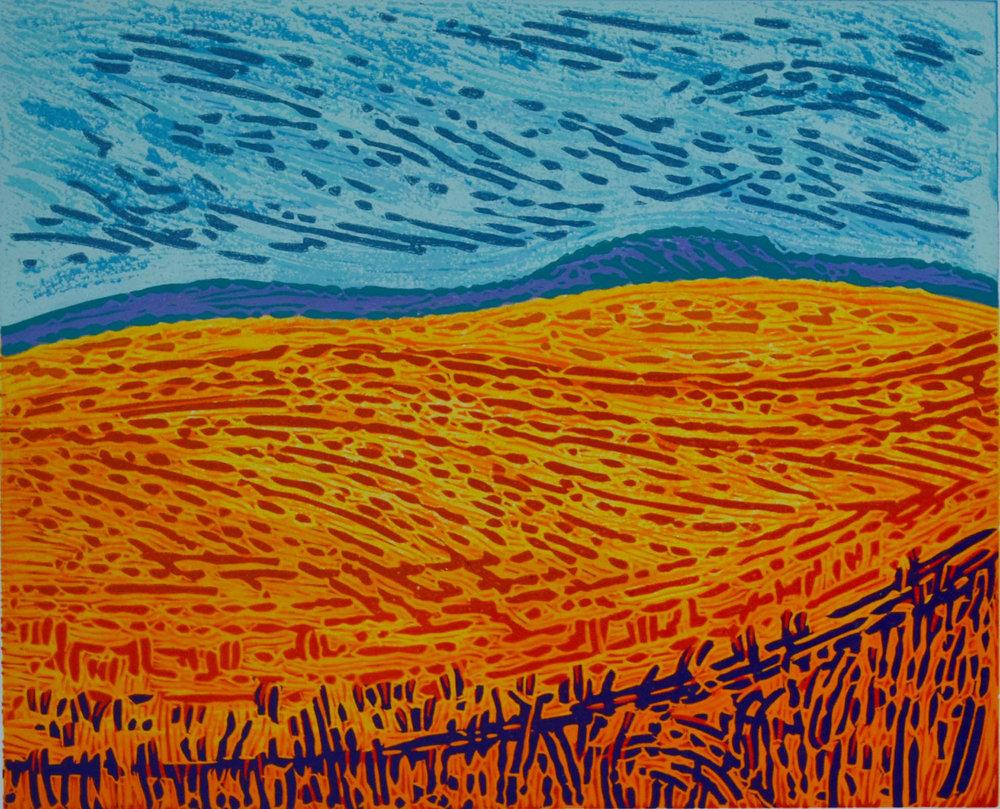 High Summer , Lino Print, 25 x 30 cm