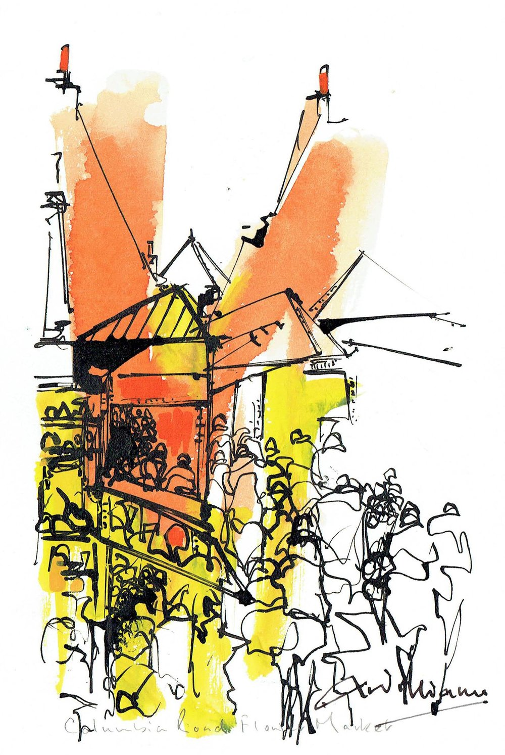 Columbia Road Flower Market , Pen and wash