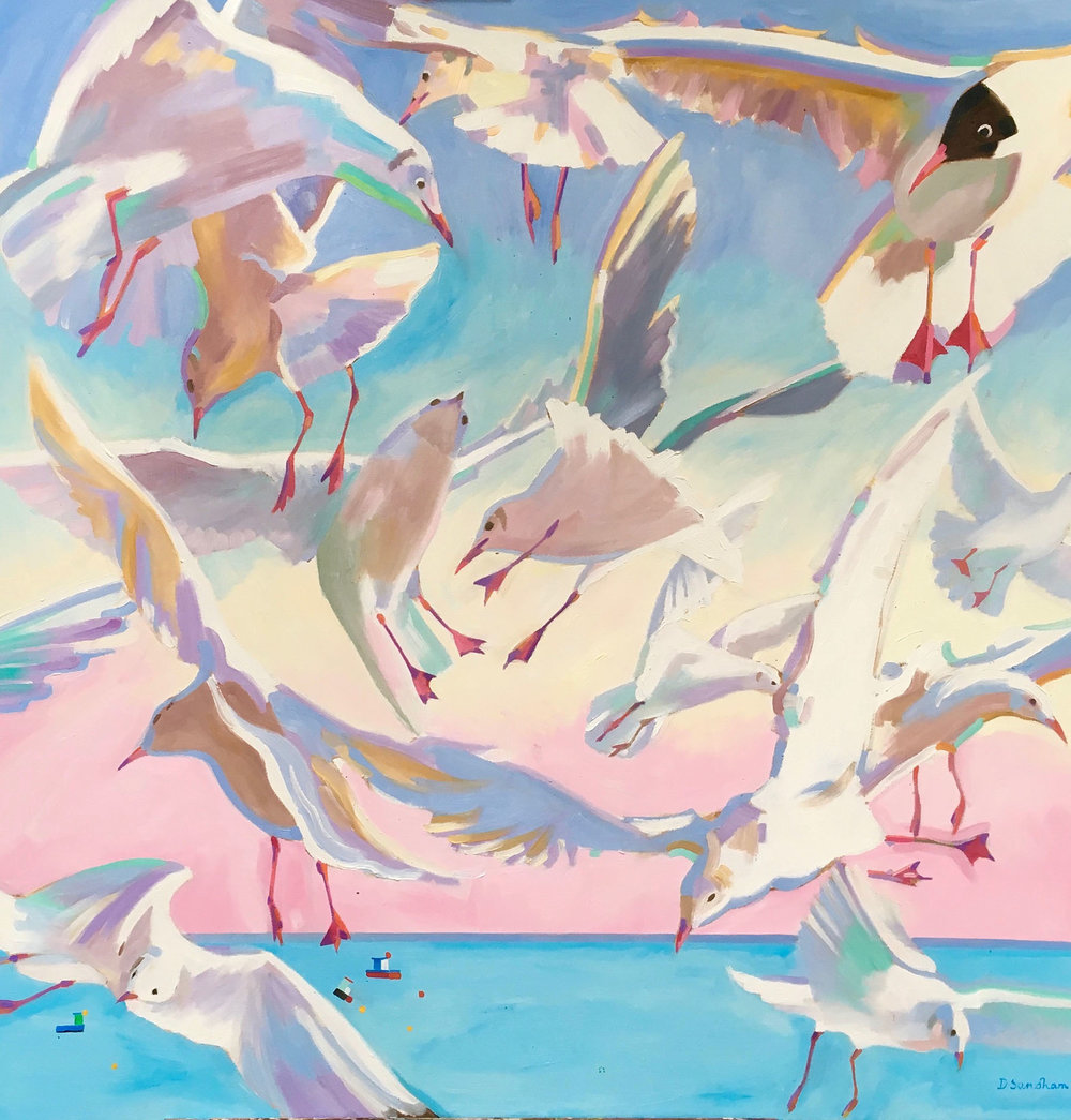 Black Headed Gulls Harwich , Oil on canvas, 90 x 90 cm