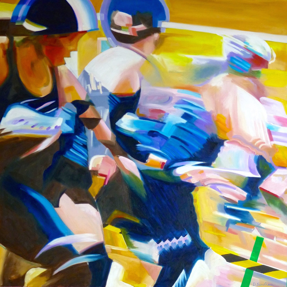 Roller Derby , Oil on canvas, 90 x 90 cm