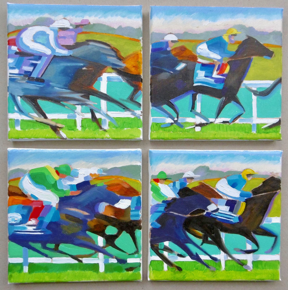 Epsom Races , Oil on canvas 4 x 20 x 20 cm