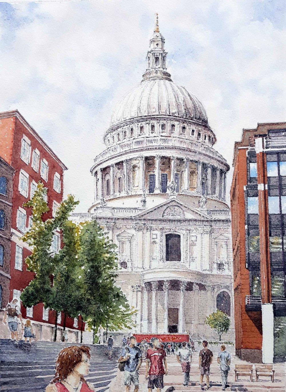 St. Paul's , Watercolour, 27 x 37 cm