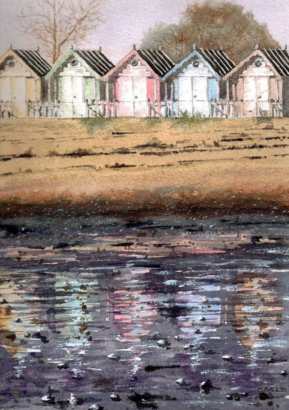 Mersea Beach Huts , Watercolour, 22 x 32 cm