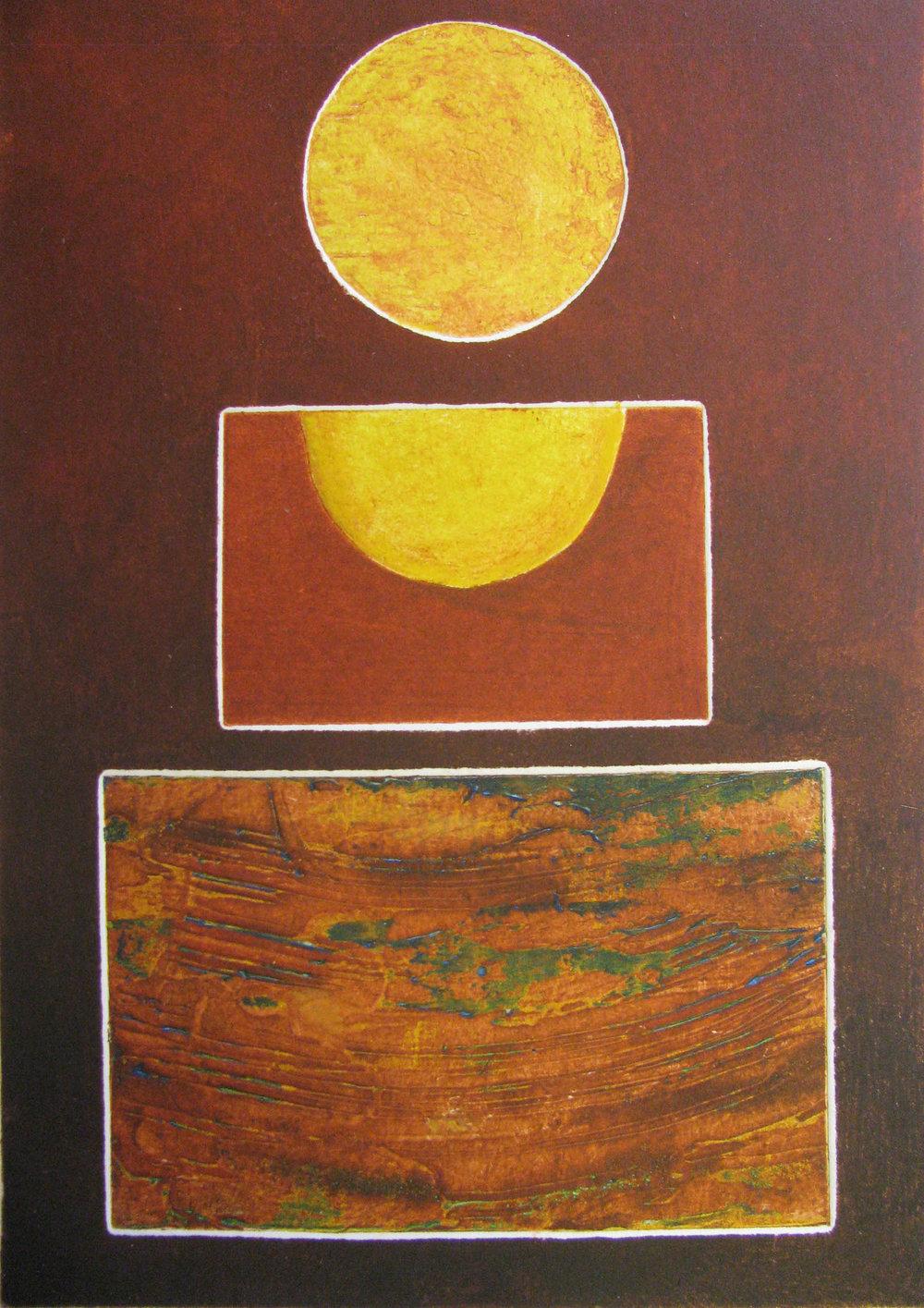 Golden Glow , Collograph, 21 x 30 cm