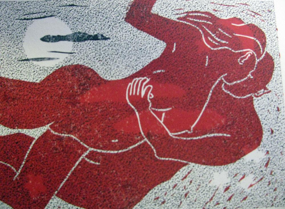 Reverie , Linocut, 15 x 20 cm