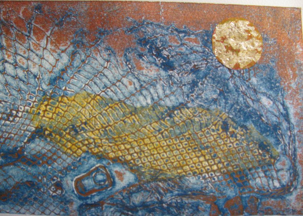 Tidal Flotsam , Collograph, 21 x 30 cm