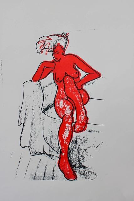 Red Lady , Unique silkscreen print, 44 x 62 cm