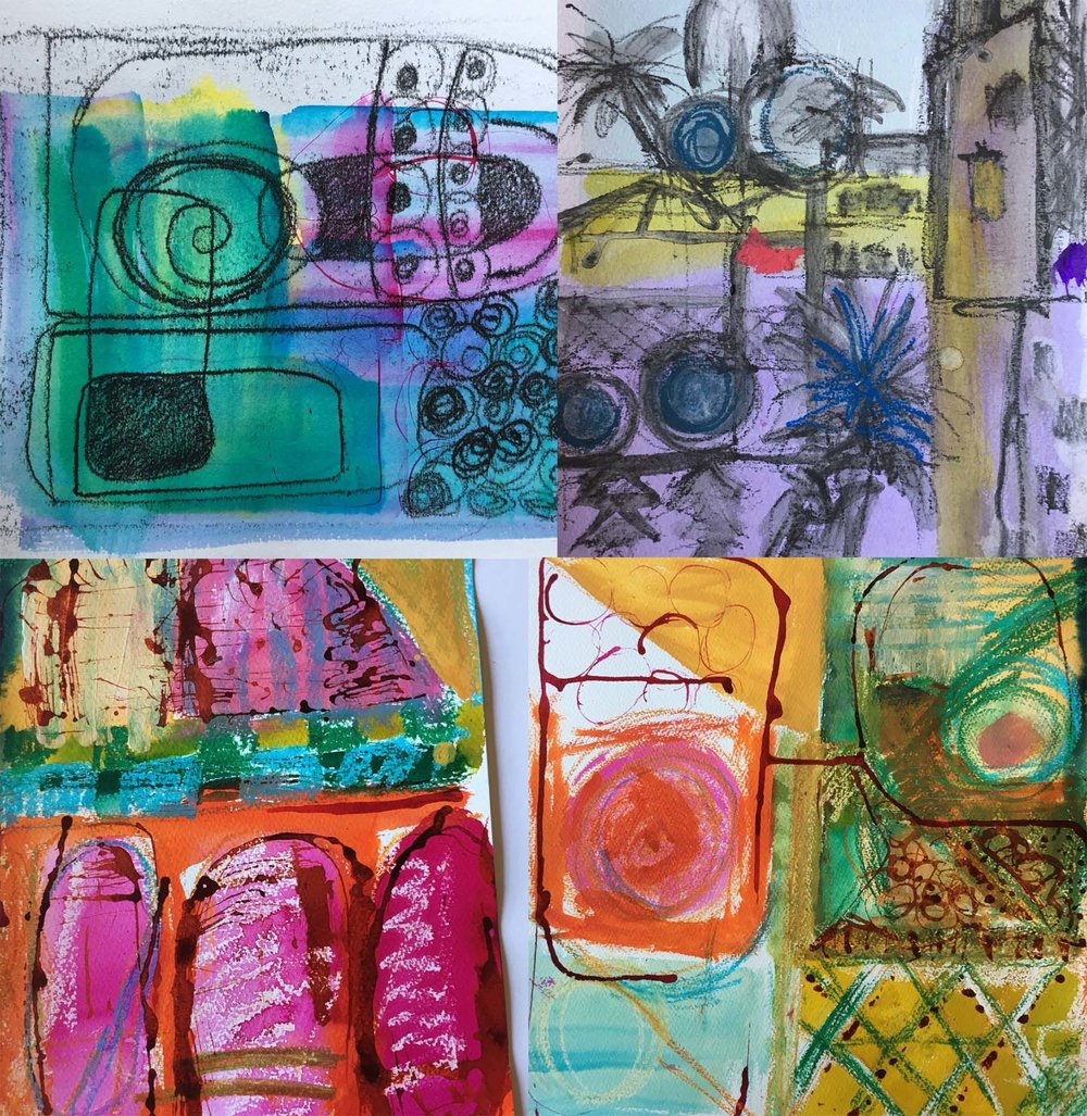 Moroccan Sketches , Watercolour, ink and wax