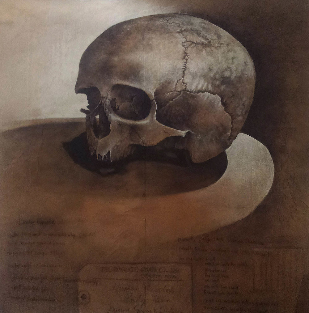 Probably Roman 1 , Charcoal and chalk on paper, 180 x 180 cm