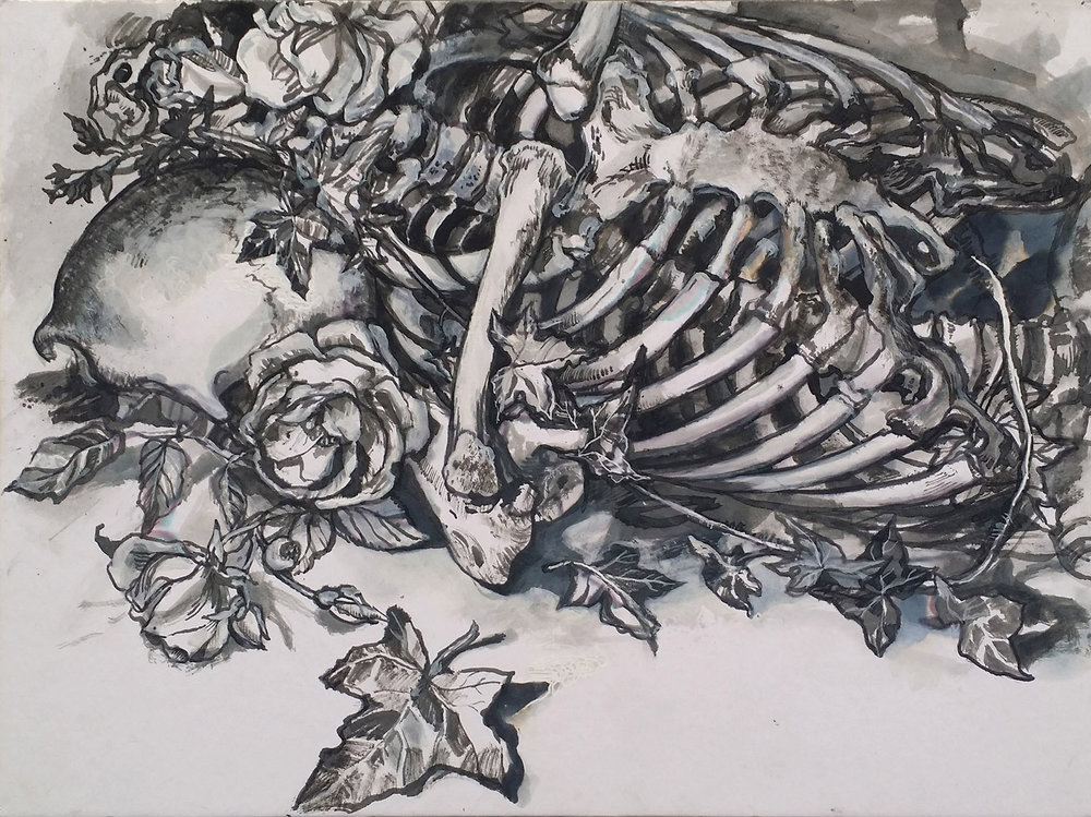 Vanitas 6 , Pigeon quill and ink on board, 25 x 32 cm