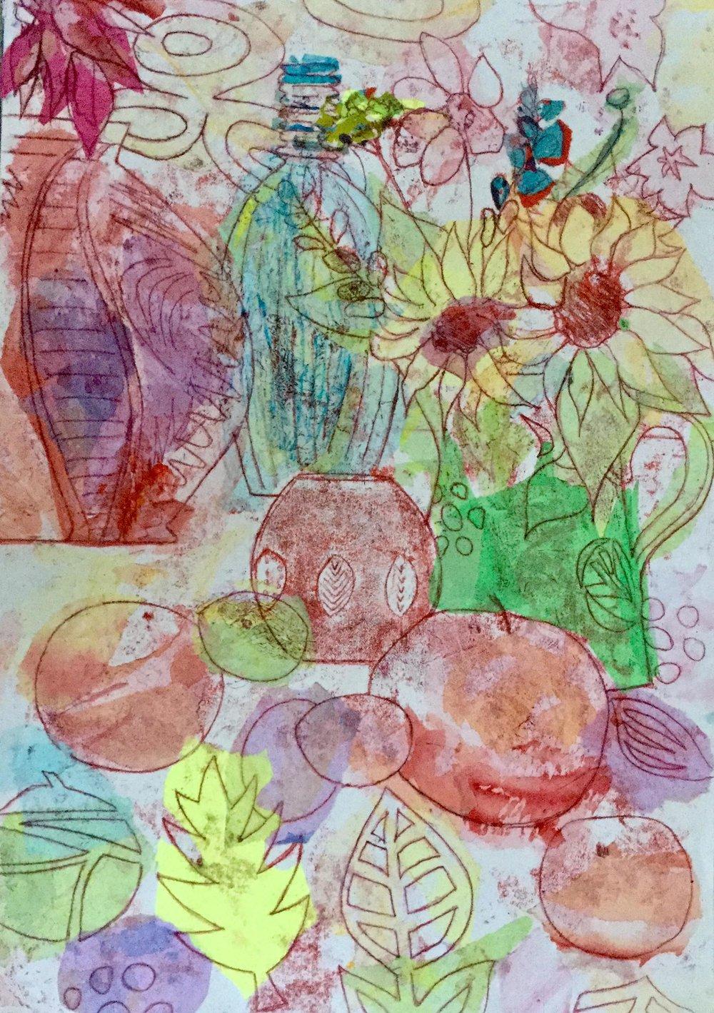 Sunflower Still Life , Monoprint and collage, 42 x 59 cm