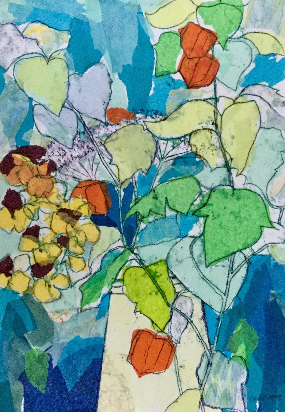 Violas and Chinese Lanterns , Monoprint and collage, 42 x 59 cm