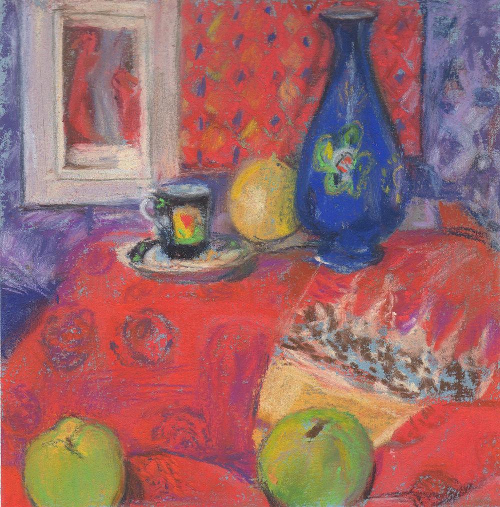 Squirrelled Away , Pastel, 17 x 17 cm