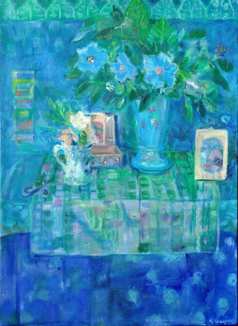 Blue Poppy on Table , Oil on canvas, 40 x 55 cm