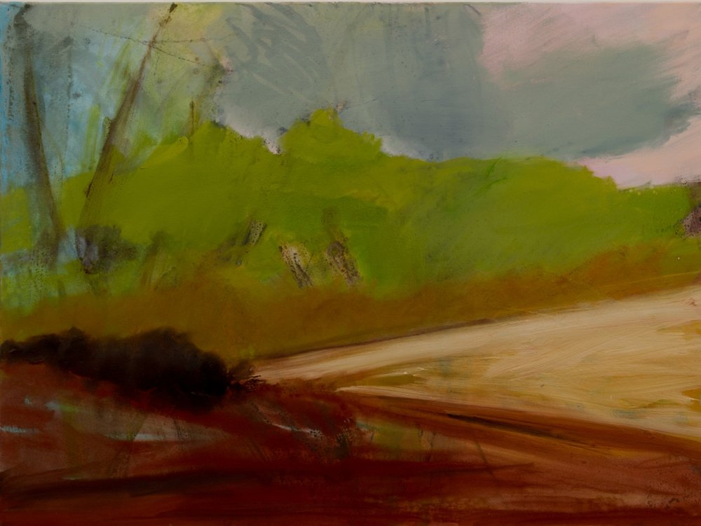 Near Stratford St Mary , Oil and pastel, 75 x 100 cm