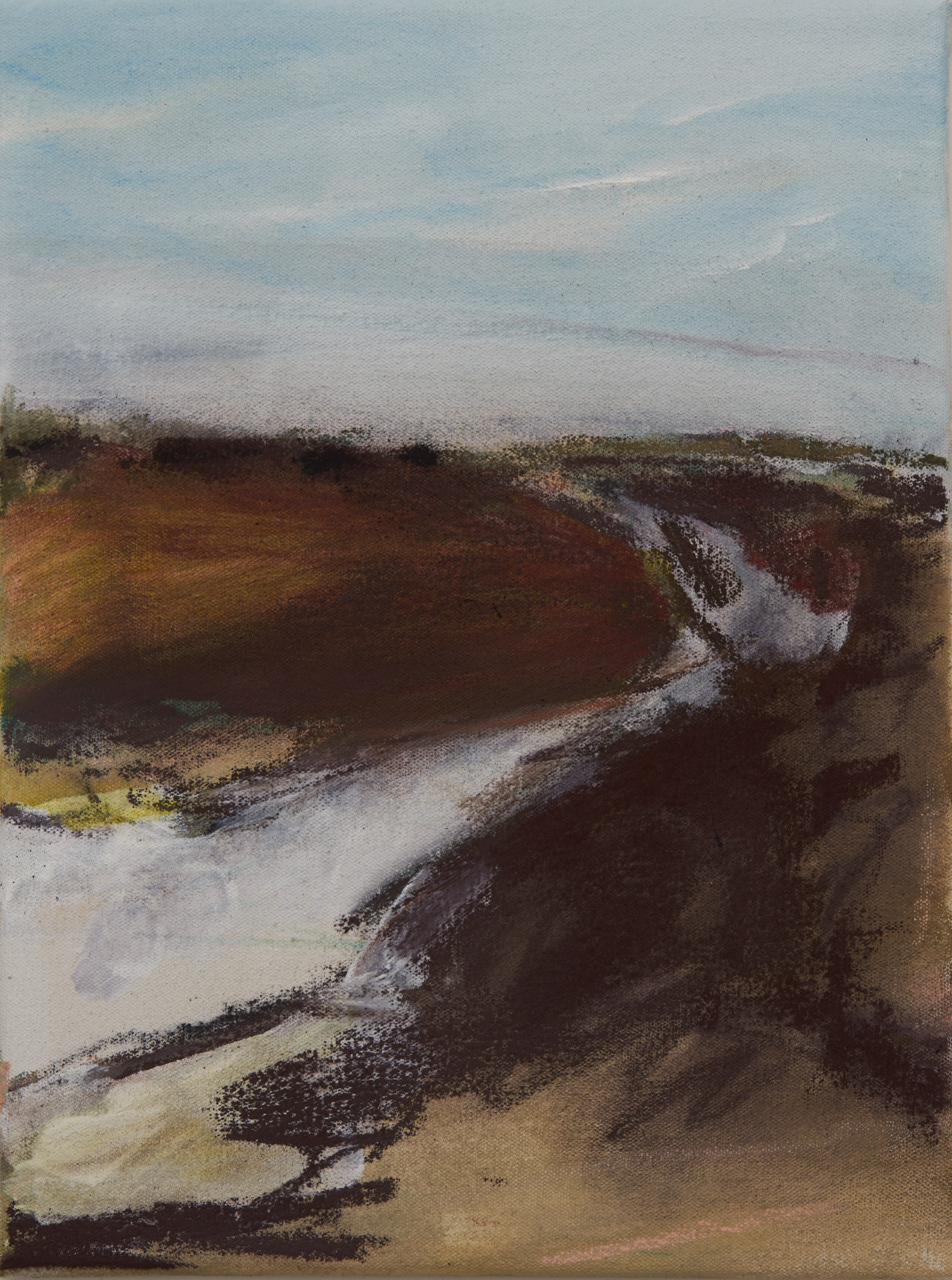 Brightlingsea Walk , Oil and pastel on canvas, 40 x 30 cm