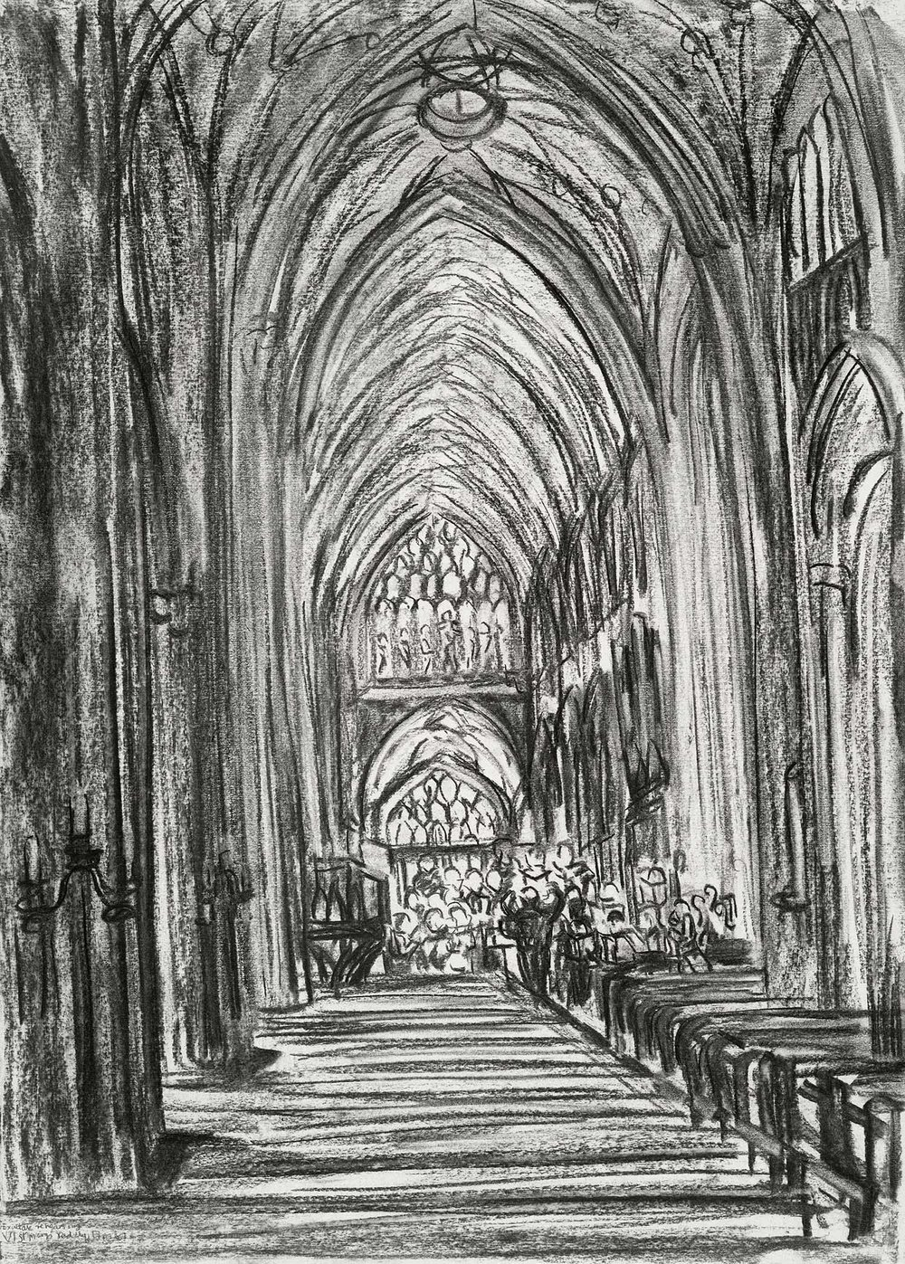 Exultate Singers Rehearsal at St Mary Redcliffe Bristol , Charcoal on paper, 59 x 42 cm