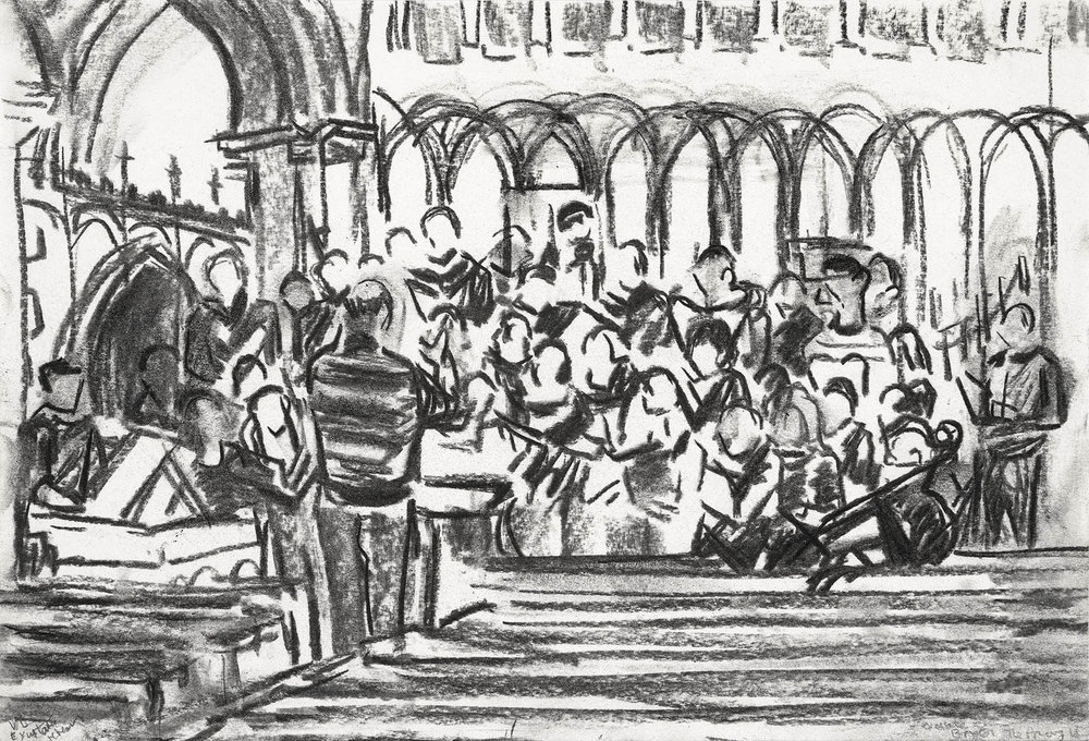 Exultate Singers Rehearsal at The Priory Bristol , Charcoal on paper, 20 x 30 cm