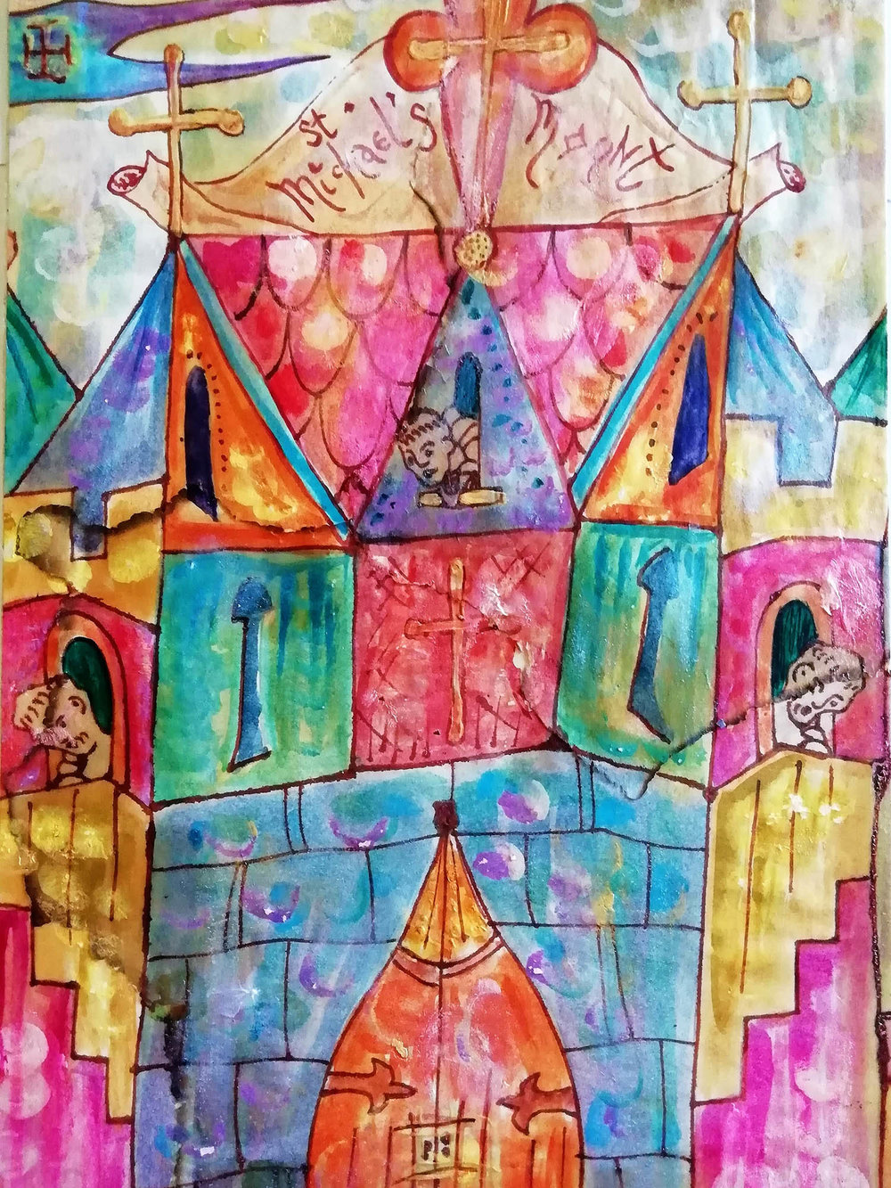 St Michael's Mount , Mixed media, 20 x 26 cm