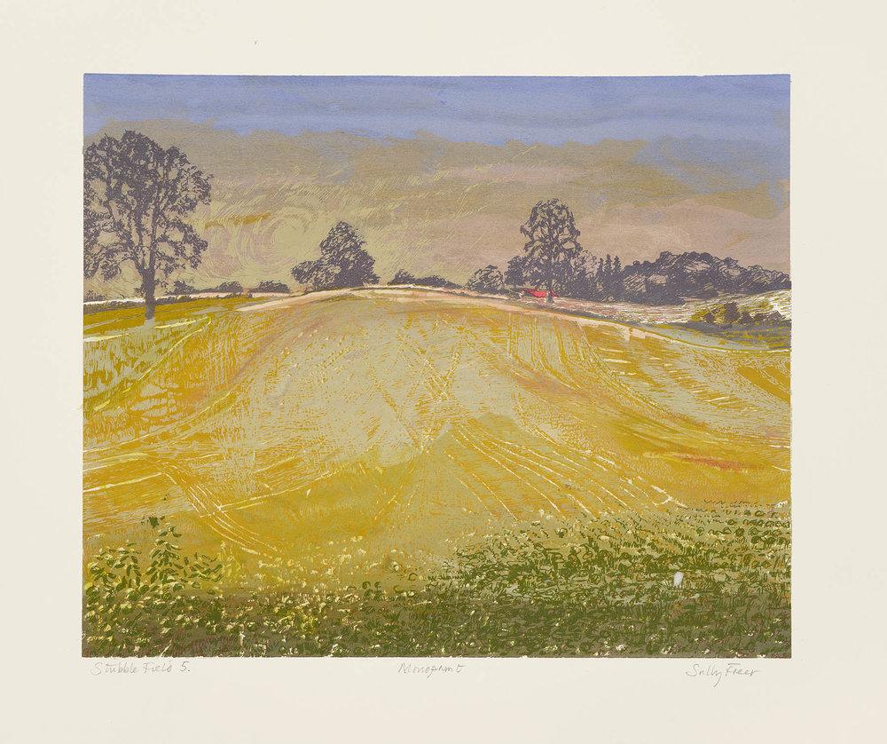 Stubble Fields , Screen monoprint, 38 x 46 cm