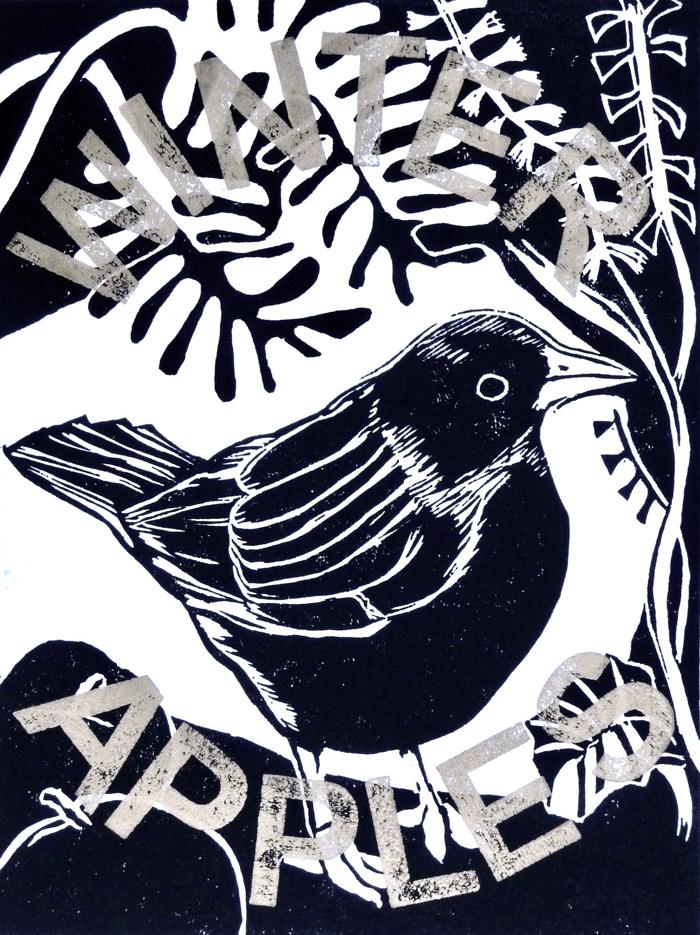 Blackbird Winter Apples , Black and Gold Linocut, Woodblock, 20 x 15 cm