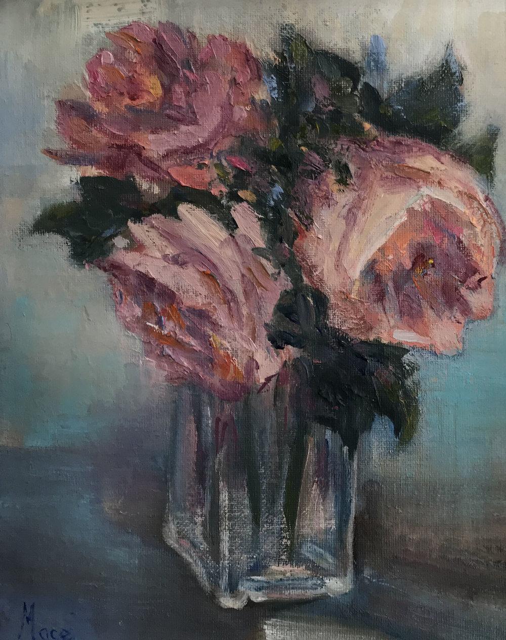 Roses , Oil, 10 x 8 in