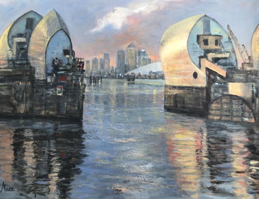 Thames Barrier,  Oil, 13 x 16 in