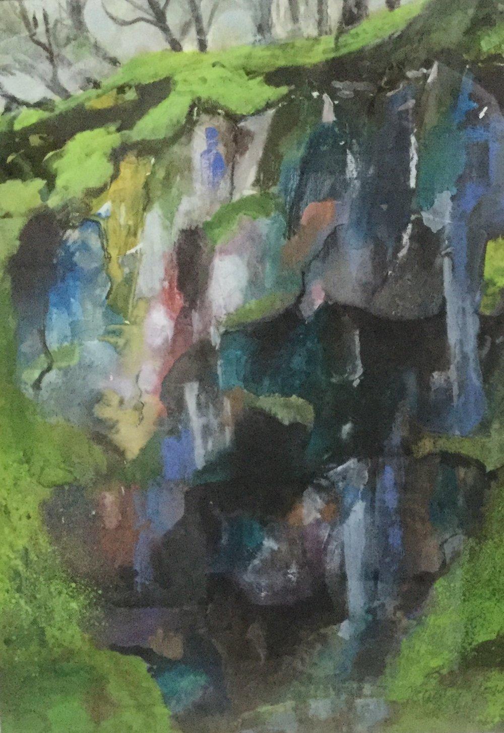 Slate Quarry , Mixed media, 37 x 27 cm