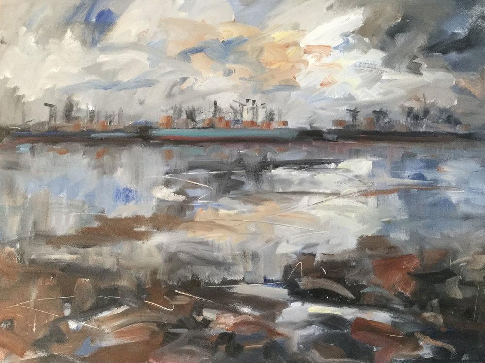 Felixstowe, Maersk Indeed , Oil, 71 x 92 cm
