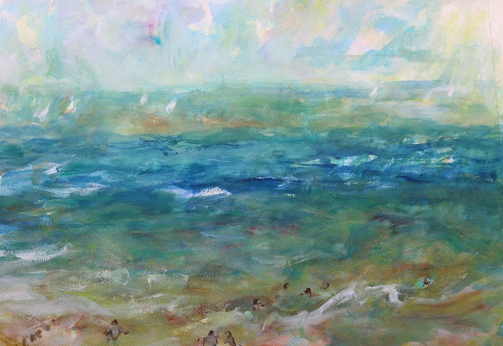 Summer Sea , Gouache, 51 x 61 cm