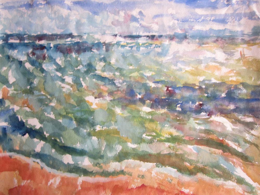 From the Beach Hut , Gouache, 33 x 44 cm