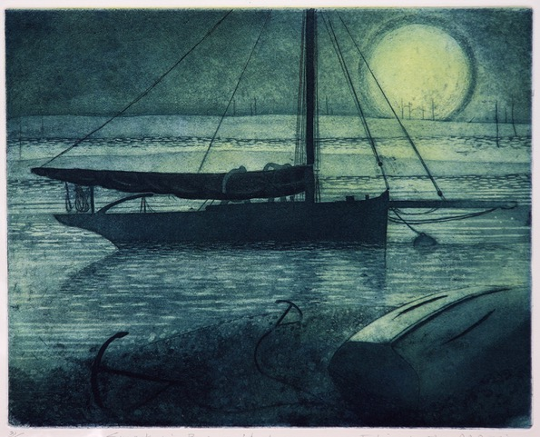 Smack in Besom Fleet , Etching, 29.5 x 36 cm