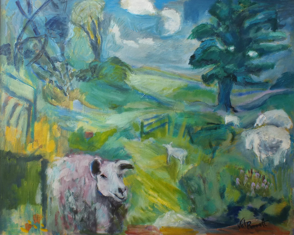 Sheep in Garden , Mixed media, 107 x 87 cm