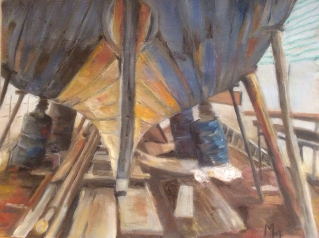 Under the Hull , Oil on paper, 30 x 20 cm